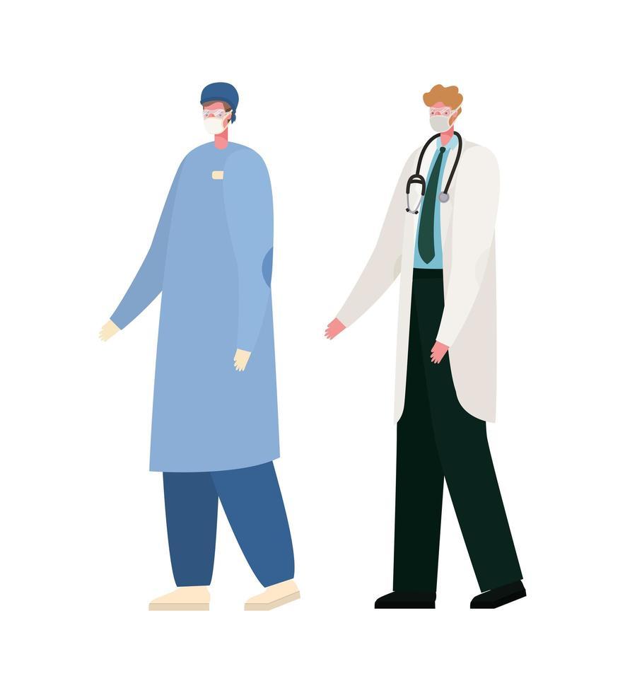 Médicos masculinos aislados con diseño vectorial de máscaras vector