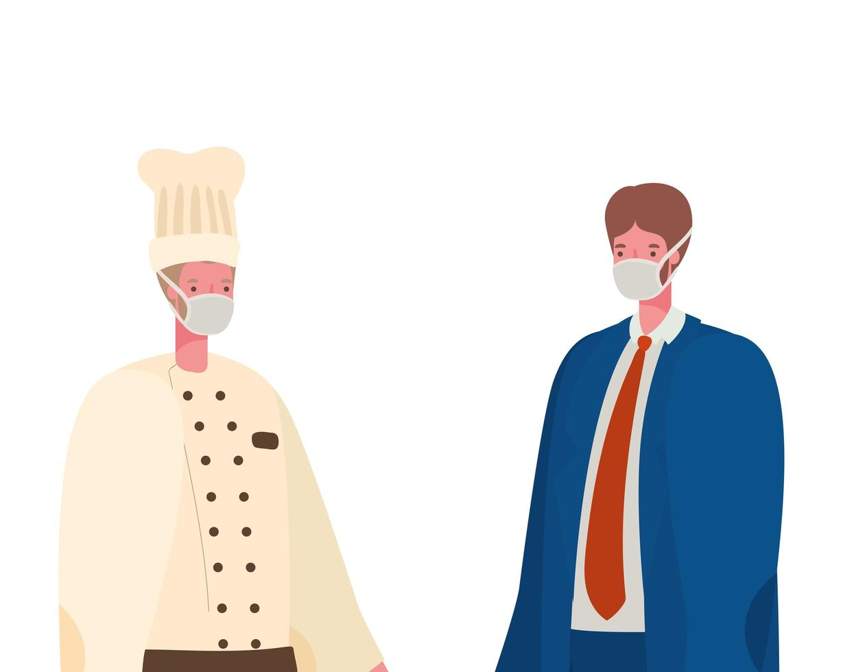 Male chef and businessman with masks vector design