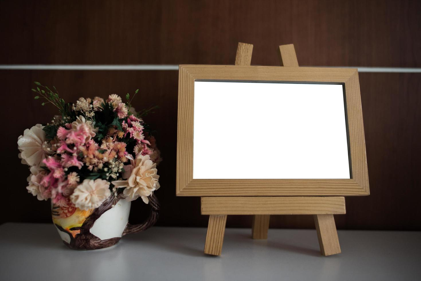 Photo frame on table with copy space