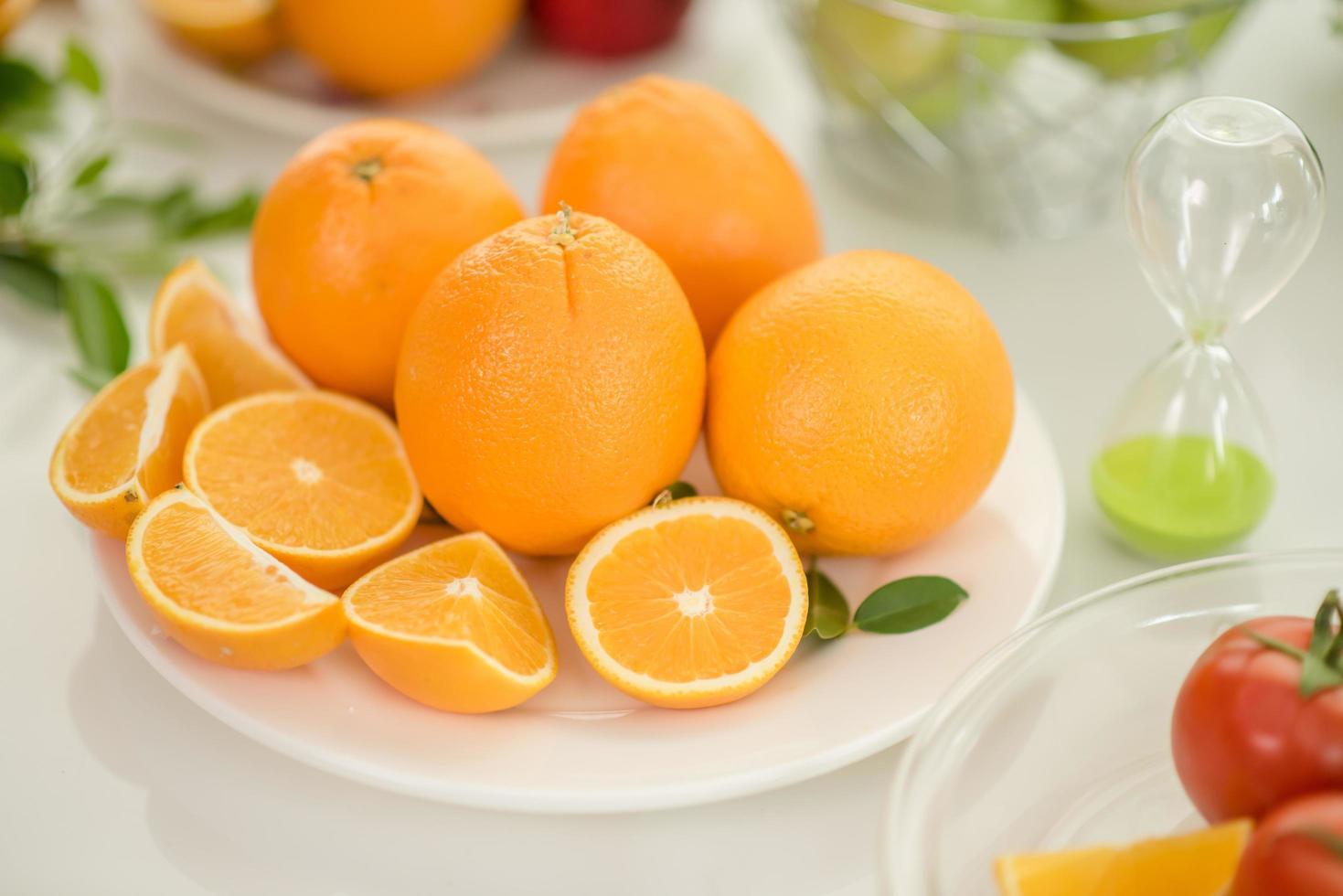 Fresh sliced oranges photo
