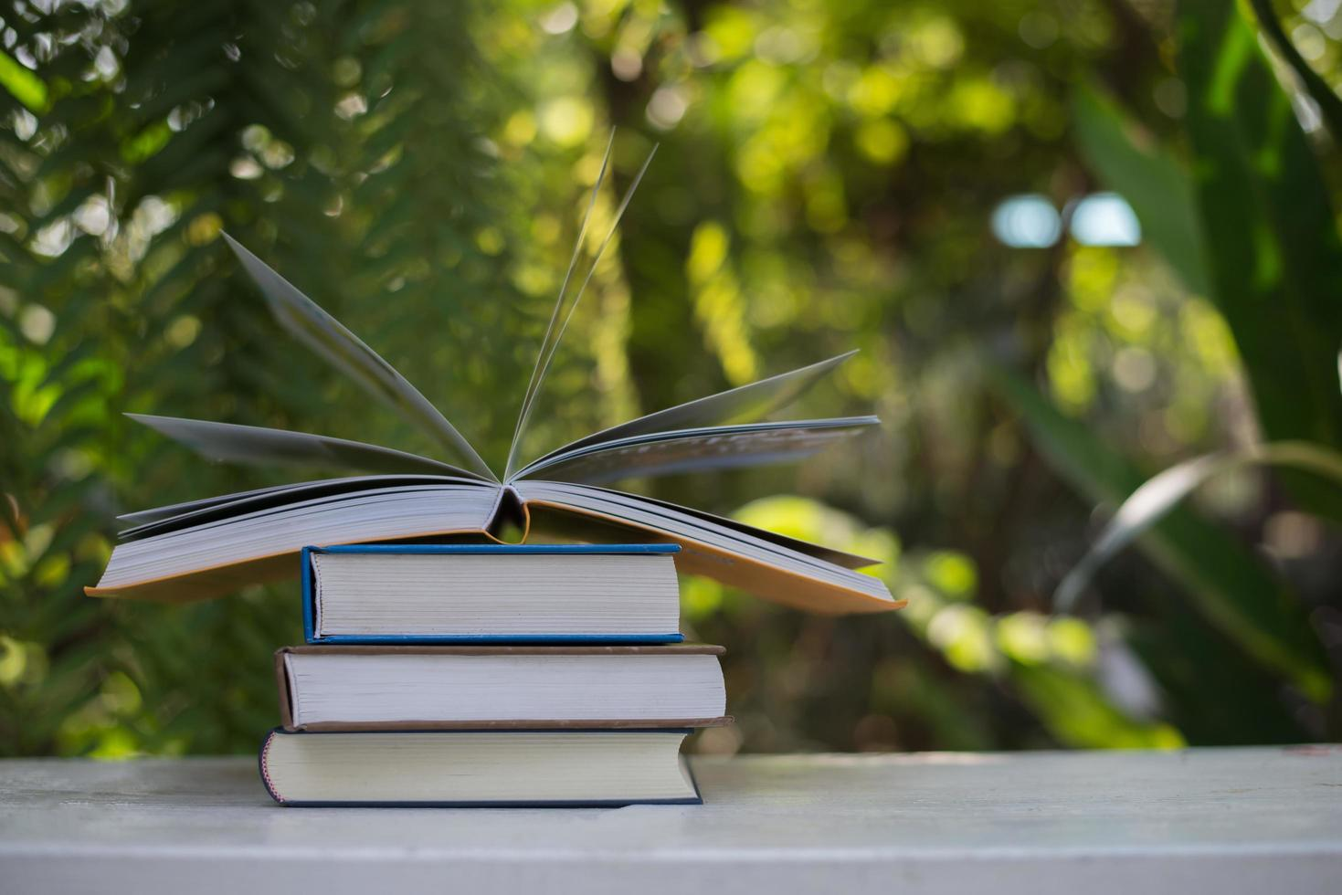 Stack of books on nature background photo