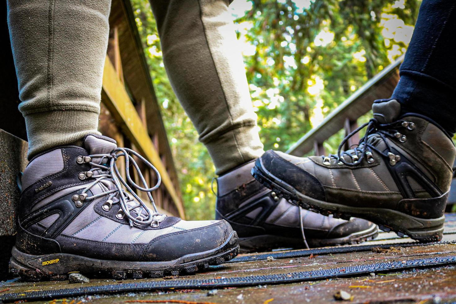 Two pairs of hiking shoes photo
