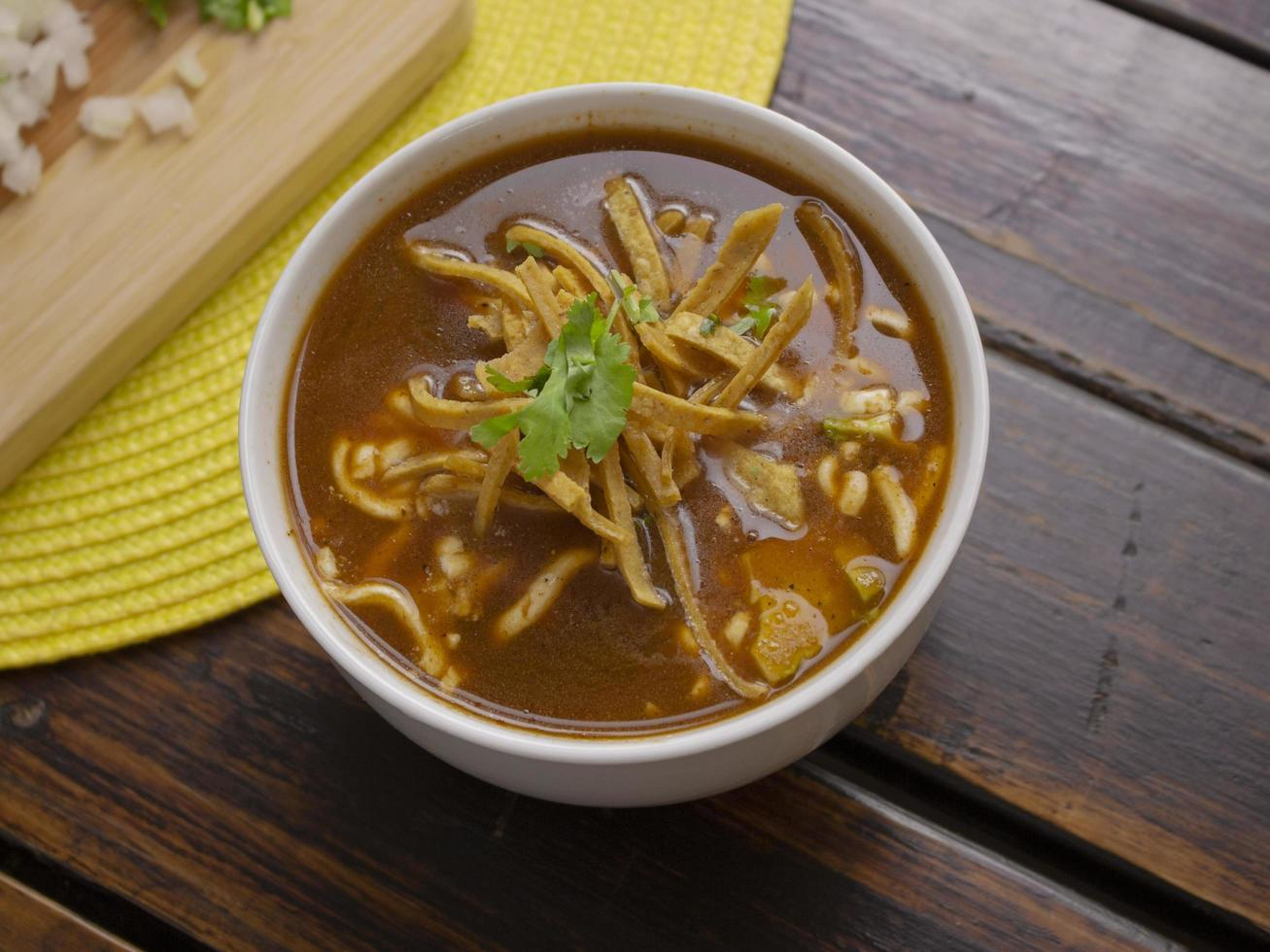 Traditional tortilla soup photo