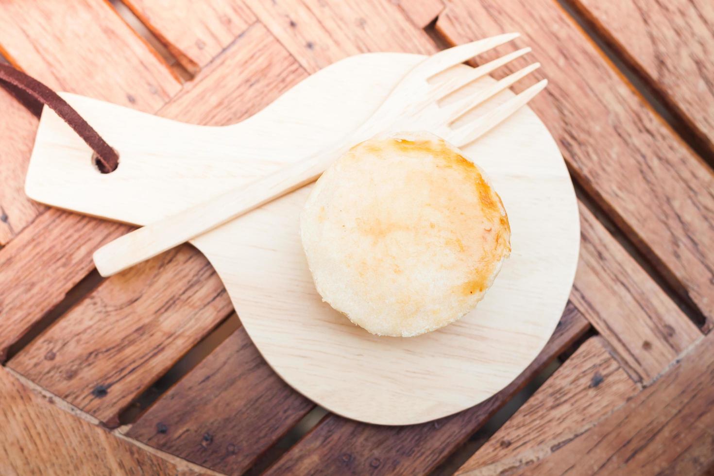 vista superior de una mini tarta de queso foto