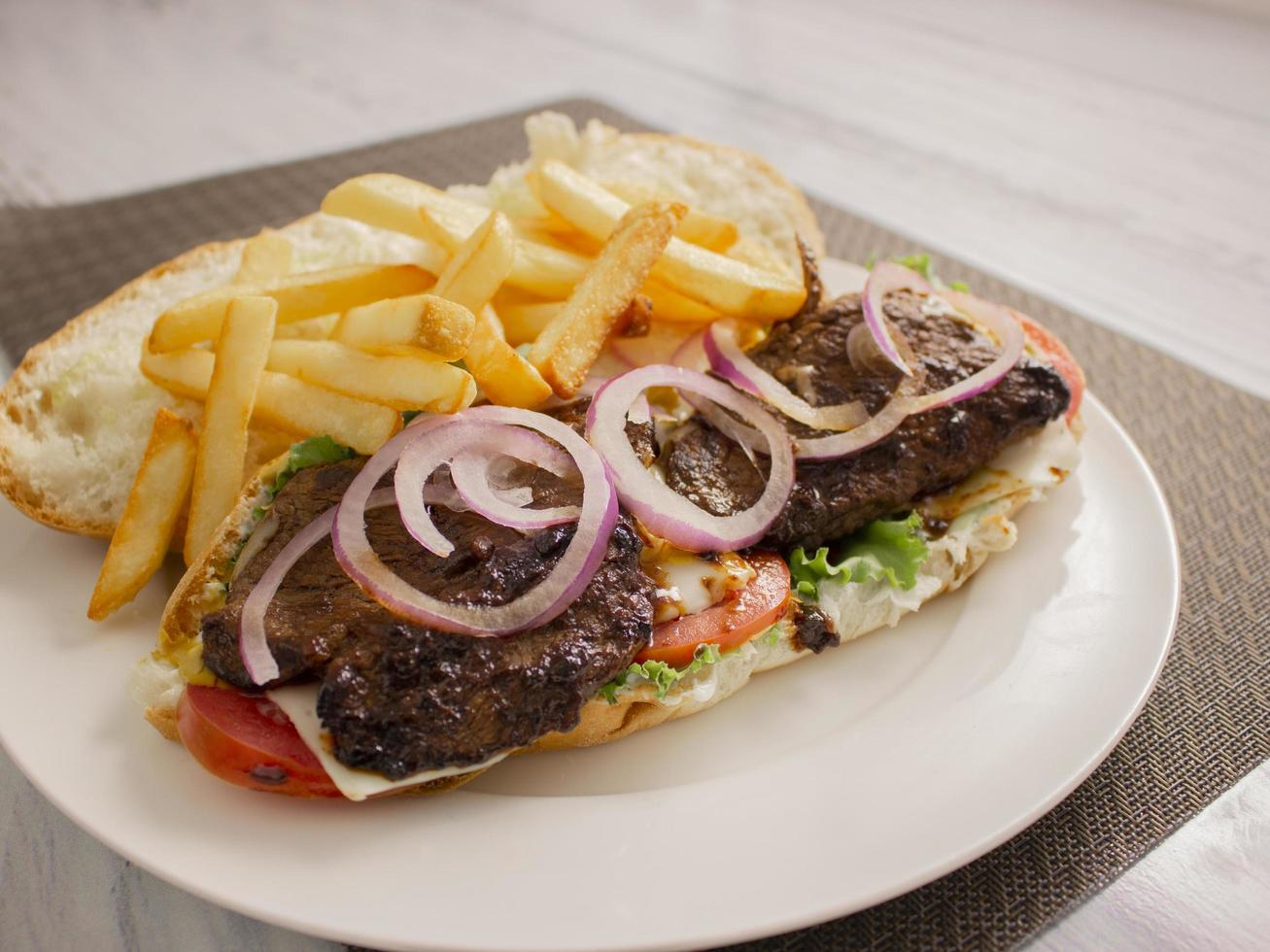 Tenderloin beef sub sandwich. photo