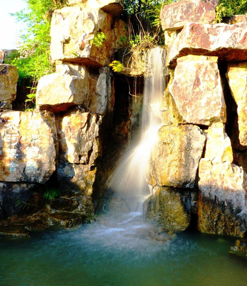 Changshu City, Jiangsu Province, October 23, 2020 - Waterfall of Shanghu Fushui Villa photo