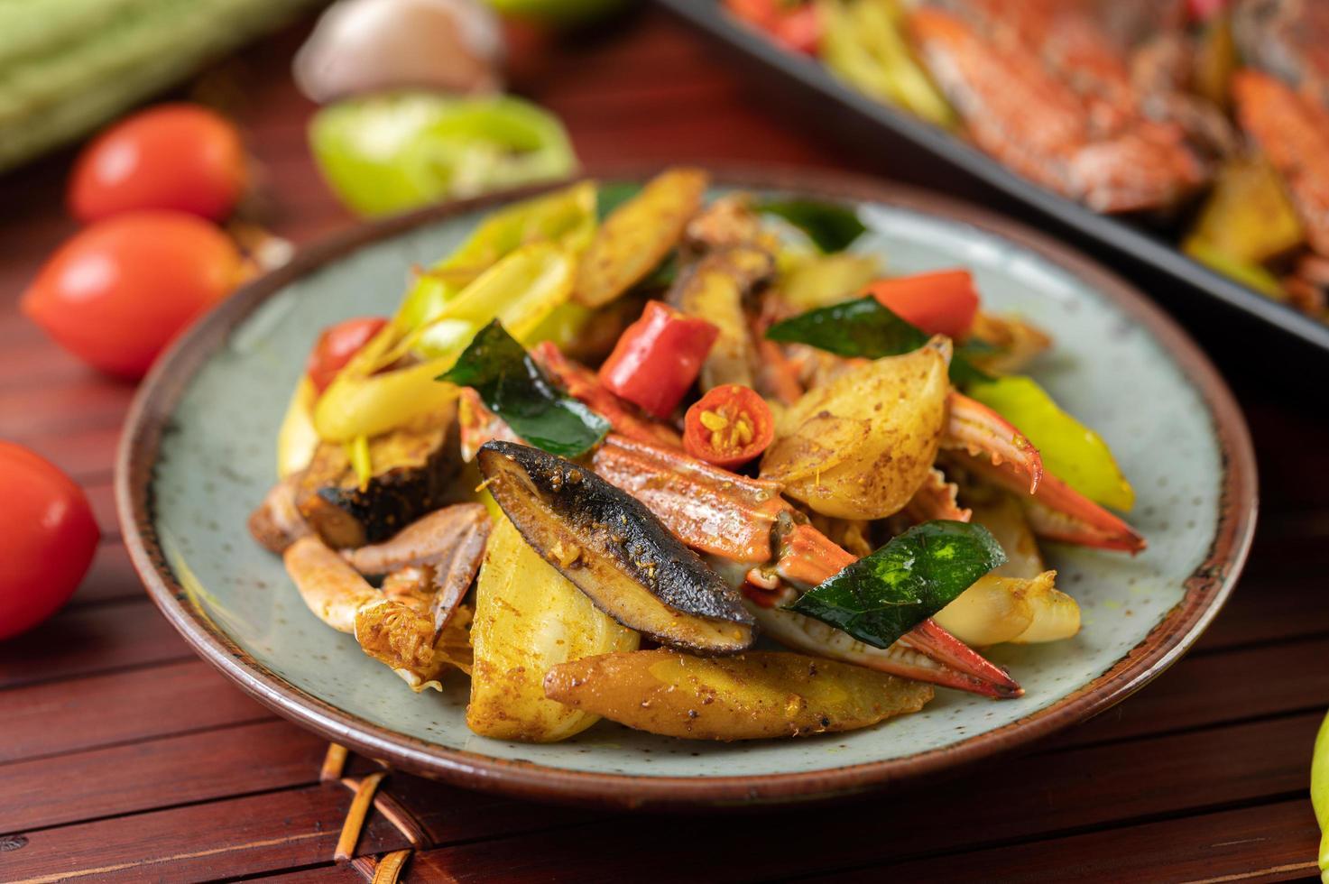 Stir-fried crab dish photo