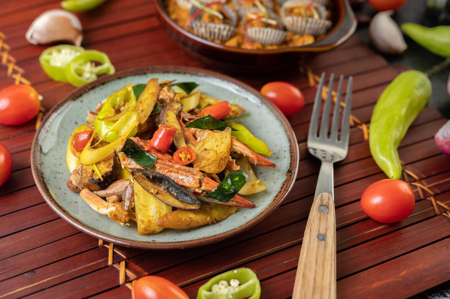 cangrejo salteado con curry foto