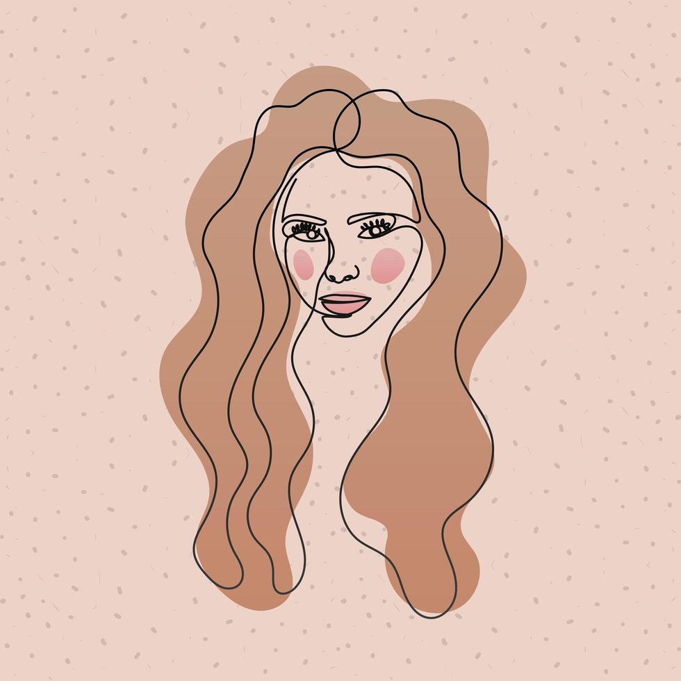 line woman face with long hair in white background vector