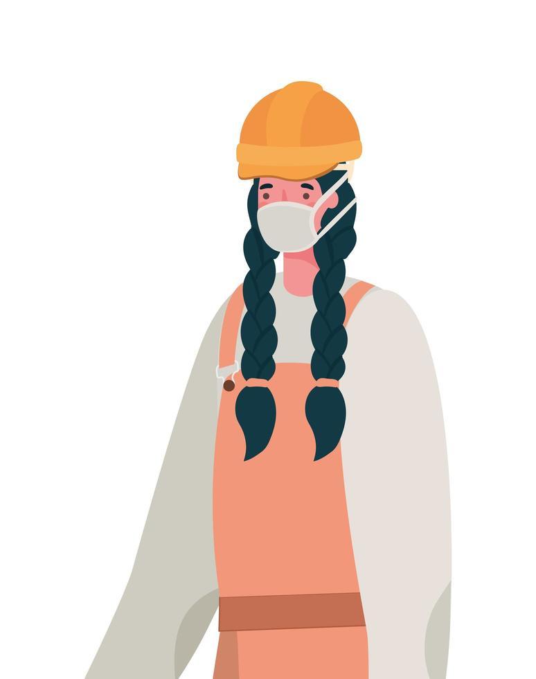 constructor femenino con diseño de vector de máscara