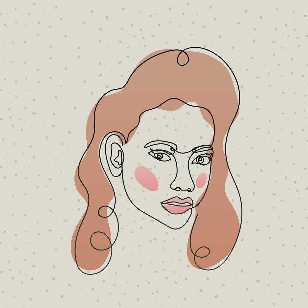 line woman face with hair and mouth vector