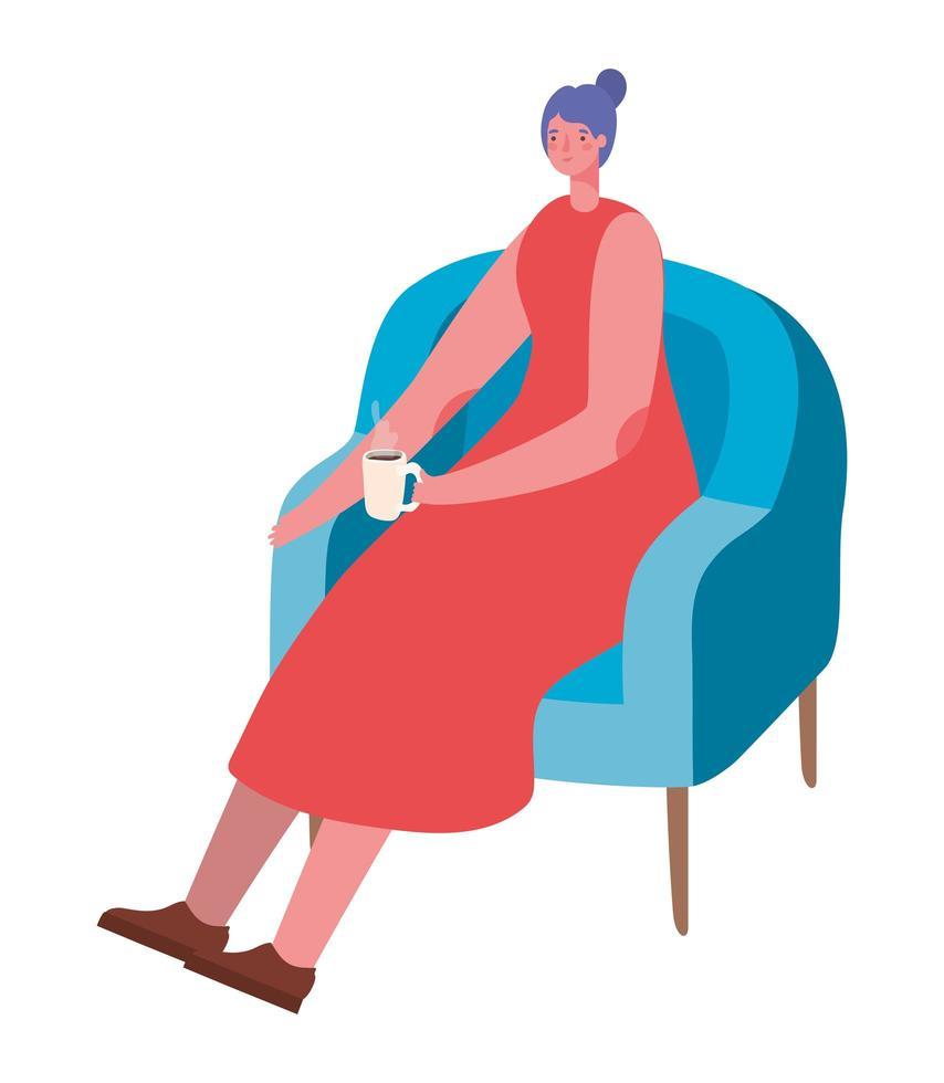 mujer de dibujos animados tomando café en la silla de diseño vectorial vector