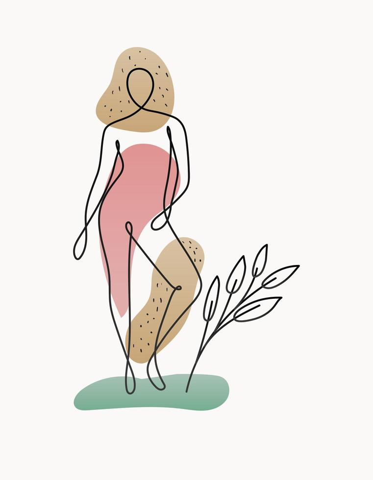 line woman body with one green plant vector