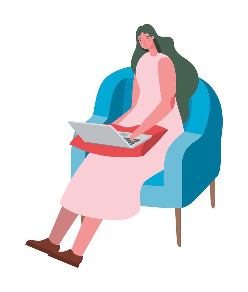mujer con laptop en silla diseño vectorial vector