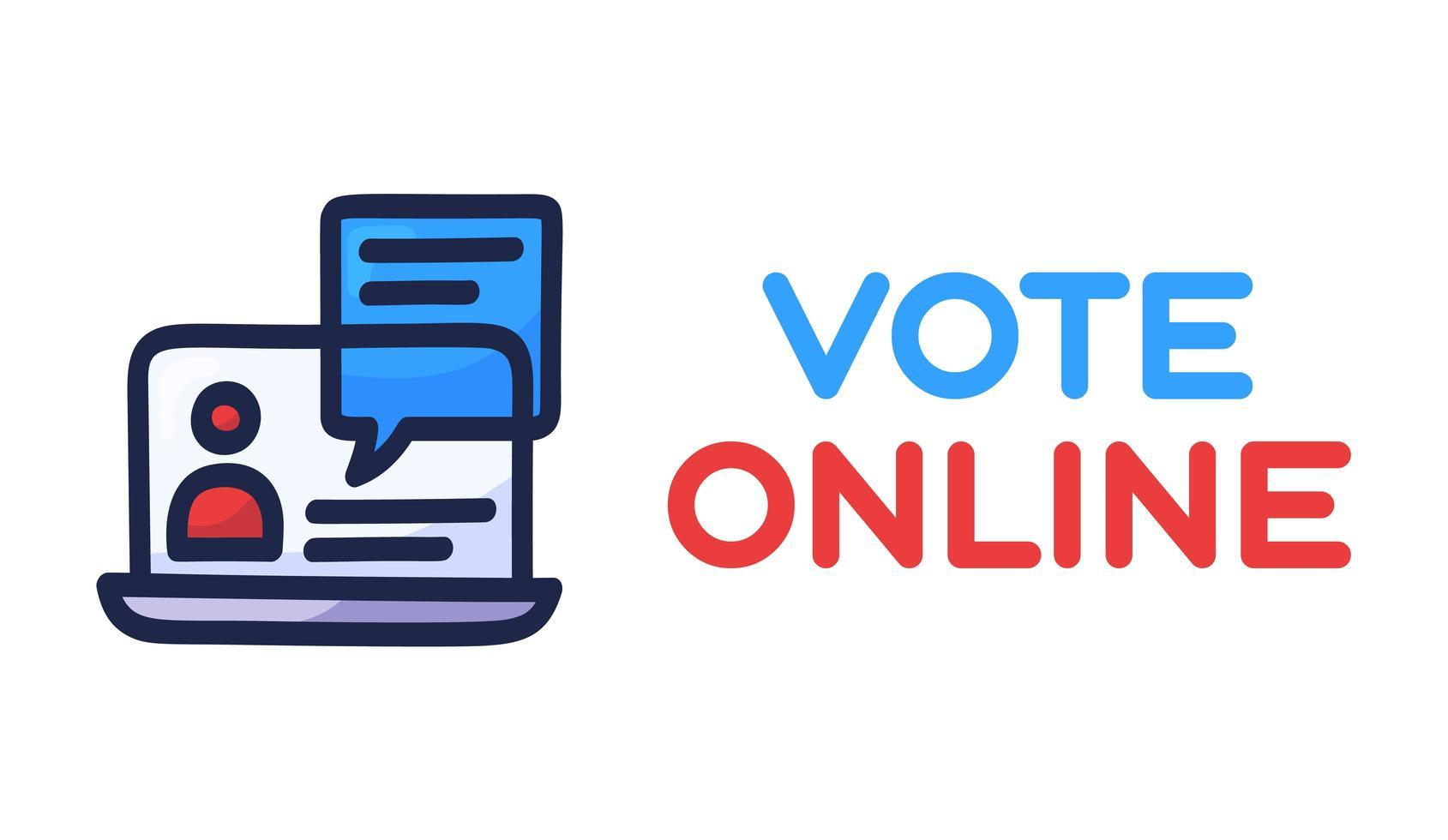 votar concepto en línea. Voto electrónico en Estados Unidos. burbuja de chat en la pantalla del portátil y texto. Elecciones presidenciales 2020 e ilustración vectorial de cuarentena de coronavirus. vector