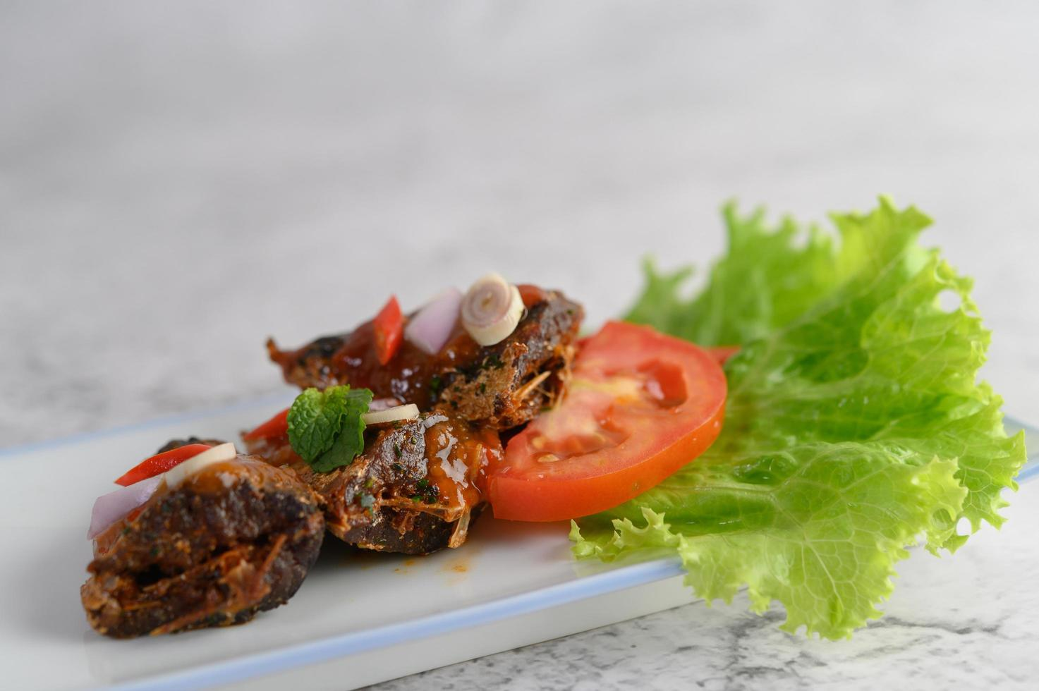 Appetizers with spicy sardines photo