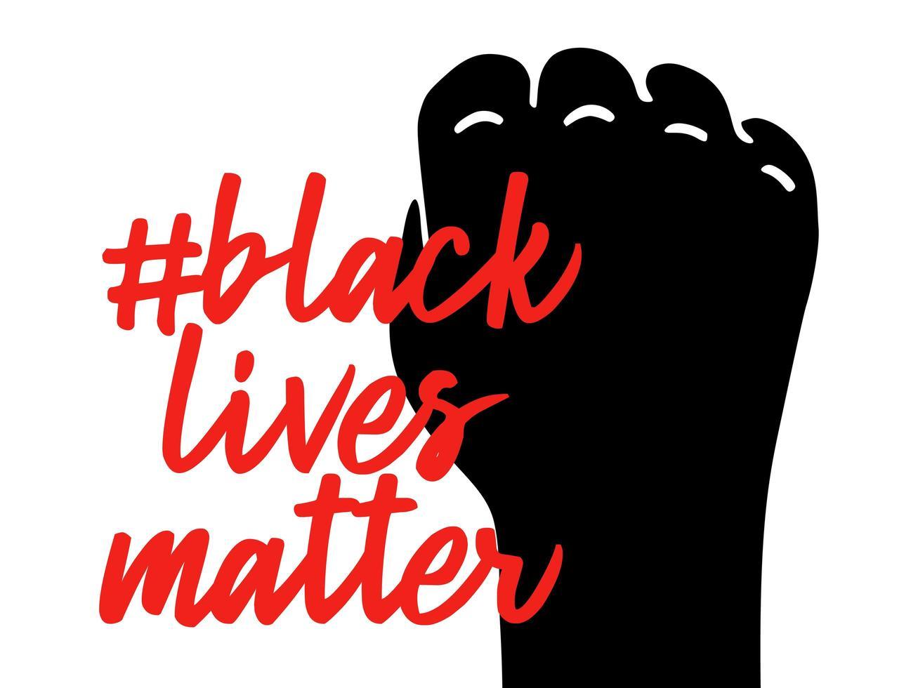 No puedo respirar el lema Las vidas negras importan. puño de protesta cerrado negro vector