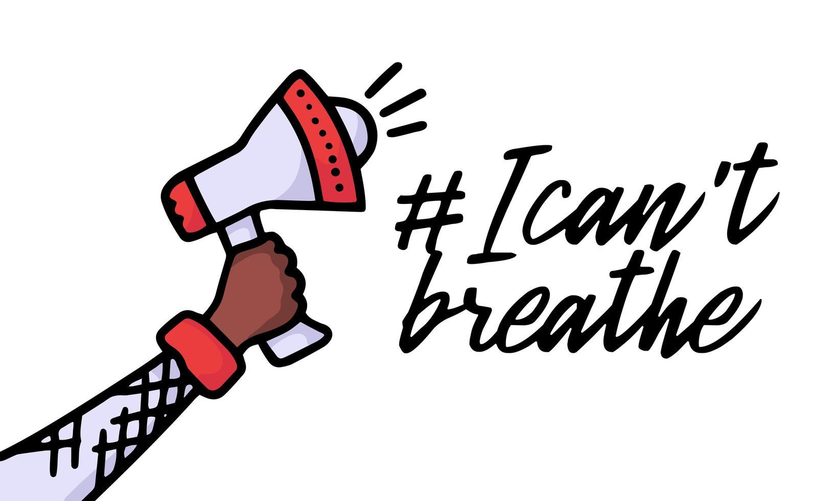 Doodle altavoz y texto que no puedo respirar. pancarta de protesta sobre los derechos humanos de los negros en américa. ilustración vectorial. cartel de icono y símbolo. vector