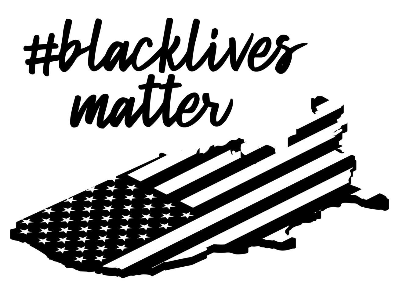 las vidas negras importan o no puedo respirar el texto en el mapa de EE. UU. ilustración vectorial de stock vector