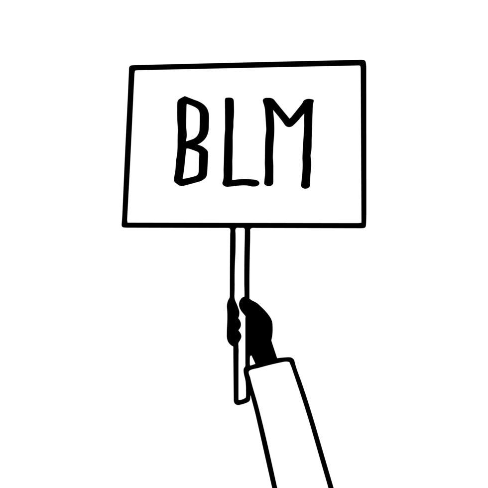 cartel de piquete de vector signo las vidas negras importan la protesta. Señal de bandera de mano de protesta activista