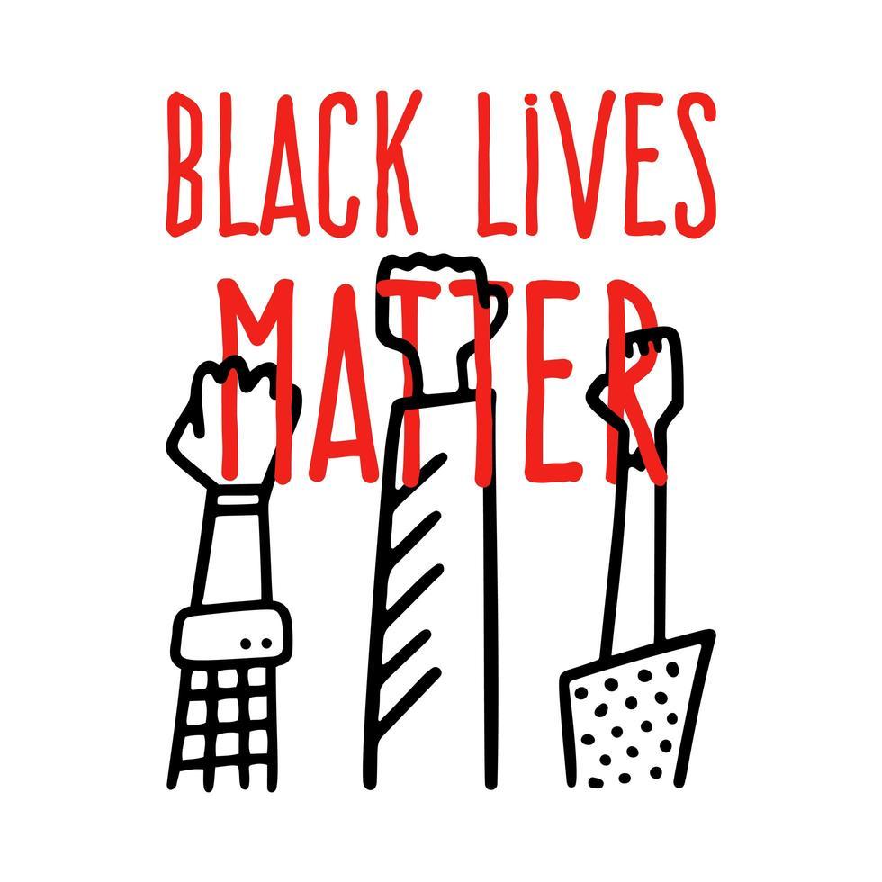 Las vidas negras importan diseño de banner con ilustración de vector de mano de puño afroamericano