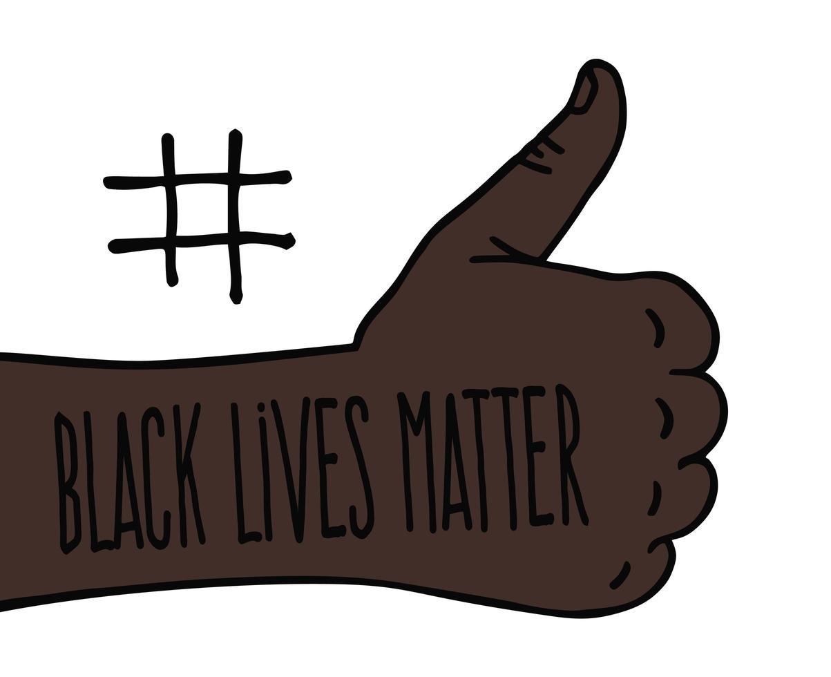 pulgares arriba, las vidas negras importan. pancarta de protesta sobre los derechos humanos de los negros en américa. ilustración vectorial. vector