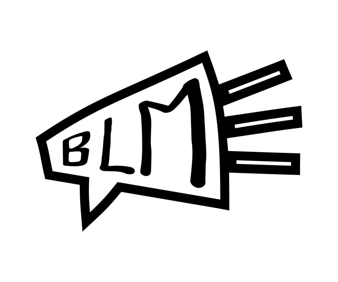 garabato altavoz y texto negro vidas importan blm. pancarta de protesta sobre los derechos humanos de los negros en américa. ilustración vectorial. cartel de icono y símbolo. vector