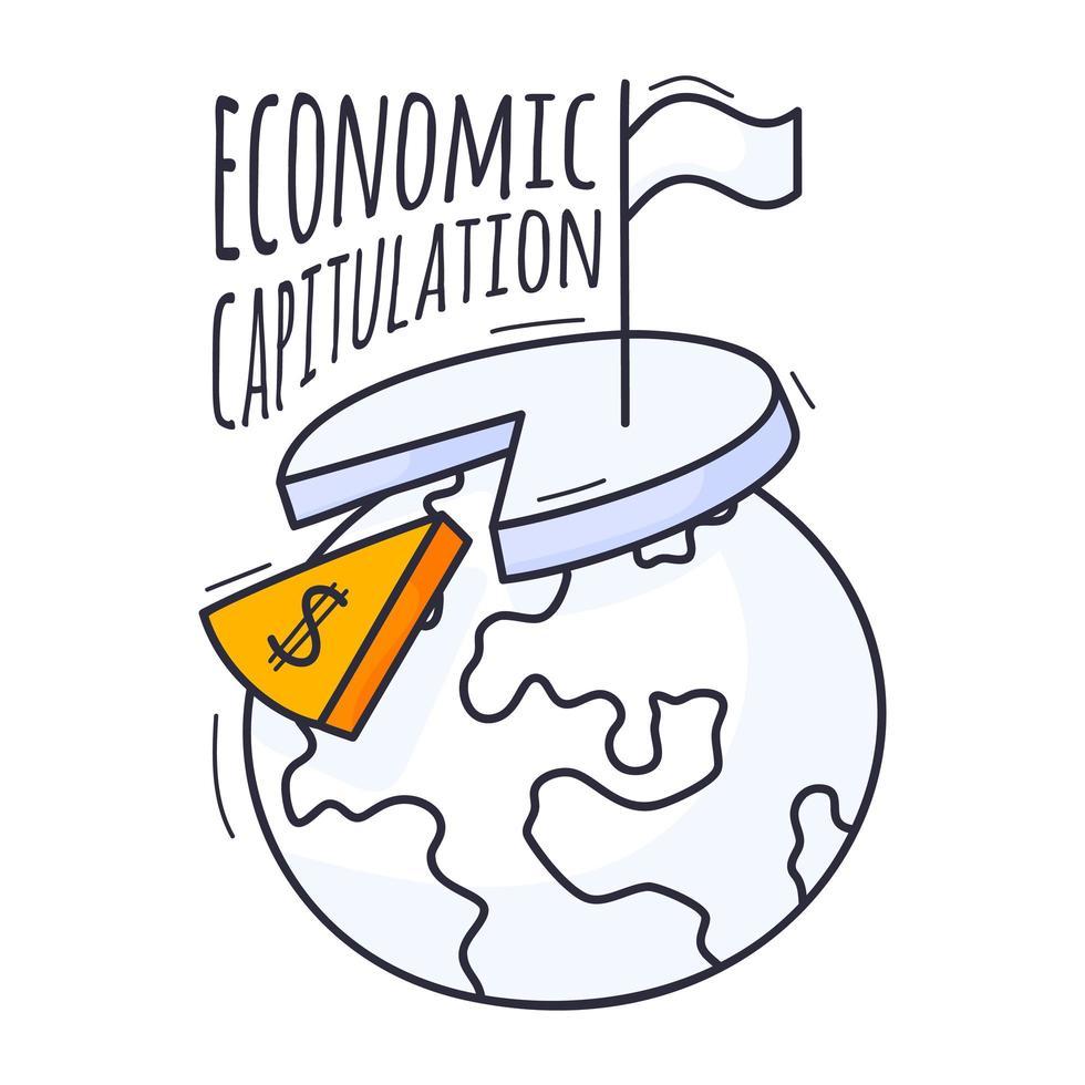 el concepto de crisis económica. La ilustración vectorial está dibujada a mano en estilo doodle. planeta tierra con un gráfico, un signo de dólar y una bandera blanca de rendición vector