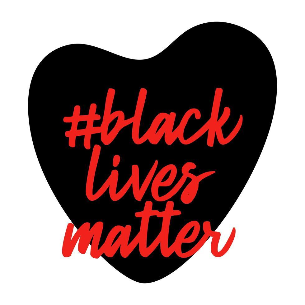 las vidas negras importan. forma de corazón. no al racismo. violencia policial. detener la violencia. ilustración vectorial plana para pancartas, carteles y redes sociales. vector