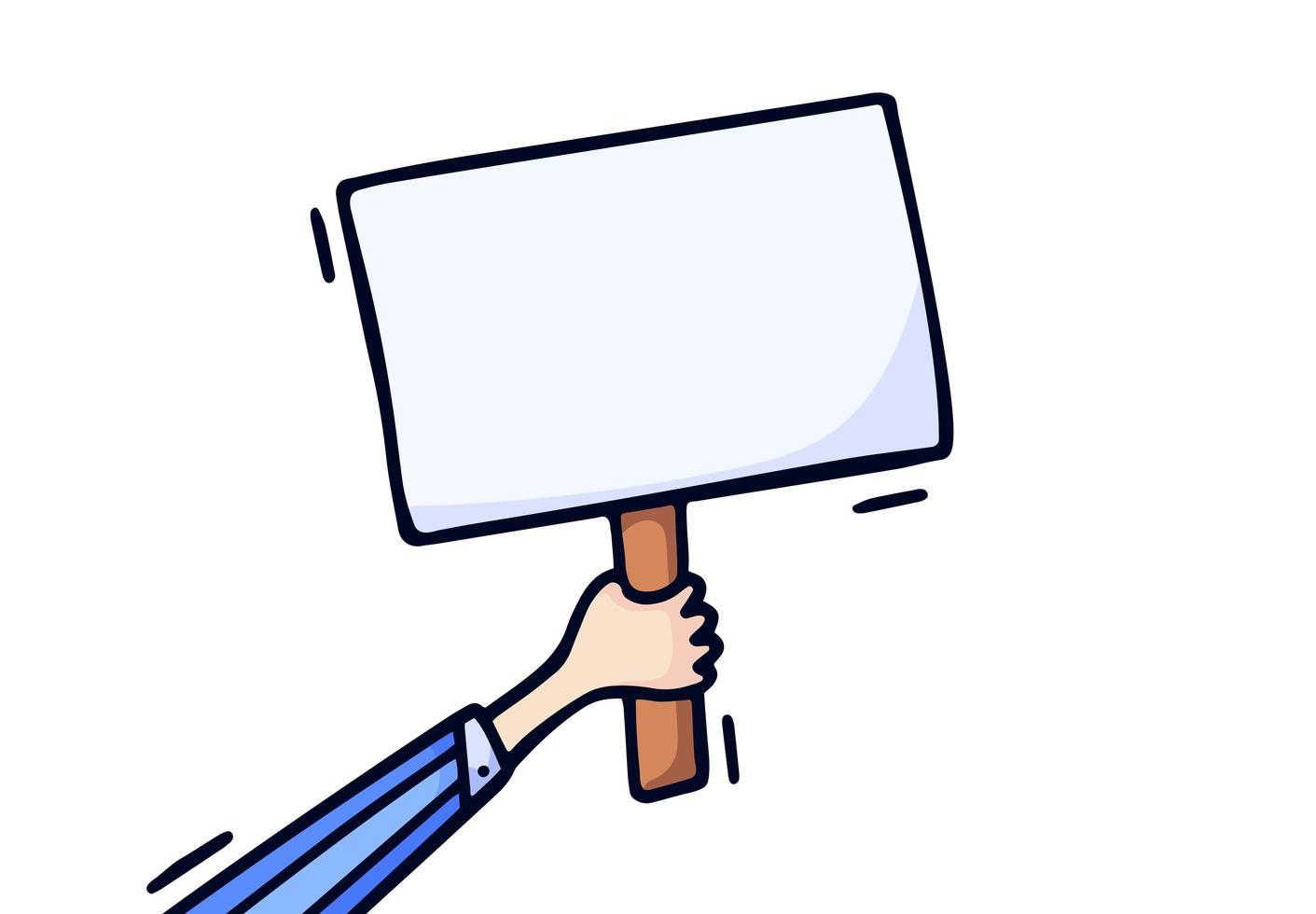 mano sosteniendo la ilustración de vector de placa en blanco. Dibujar a mano el concepto de estilo de dibujo de elección, votación, pancarta de protesta