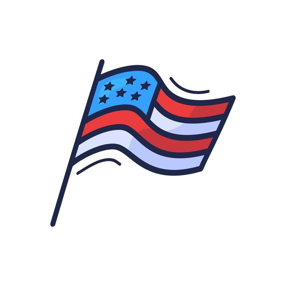 dibujado a mano estilo doodle bandera de Estados Unidos con estrellas. Doodle dibujo bandera americana para el día de la independencia. vector