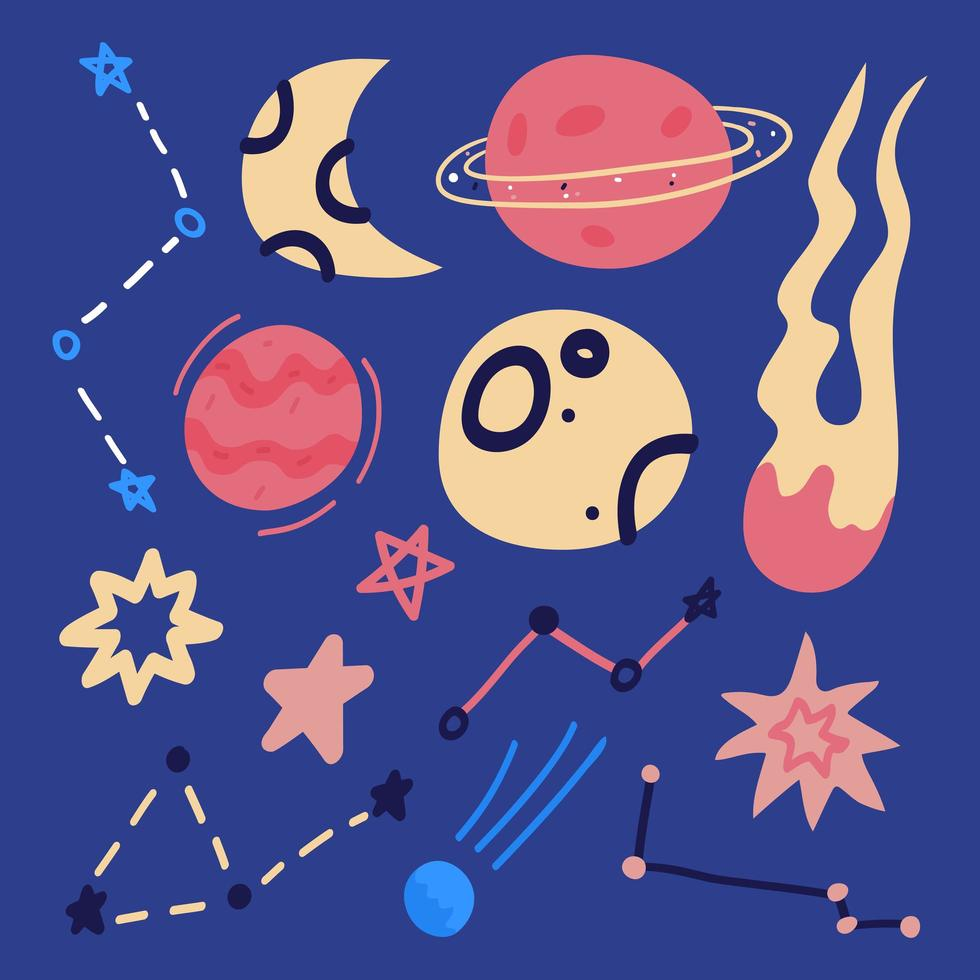 Set of hand drawn flat cartoon space element - rocket, planets and stars isolated on blue. vector