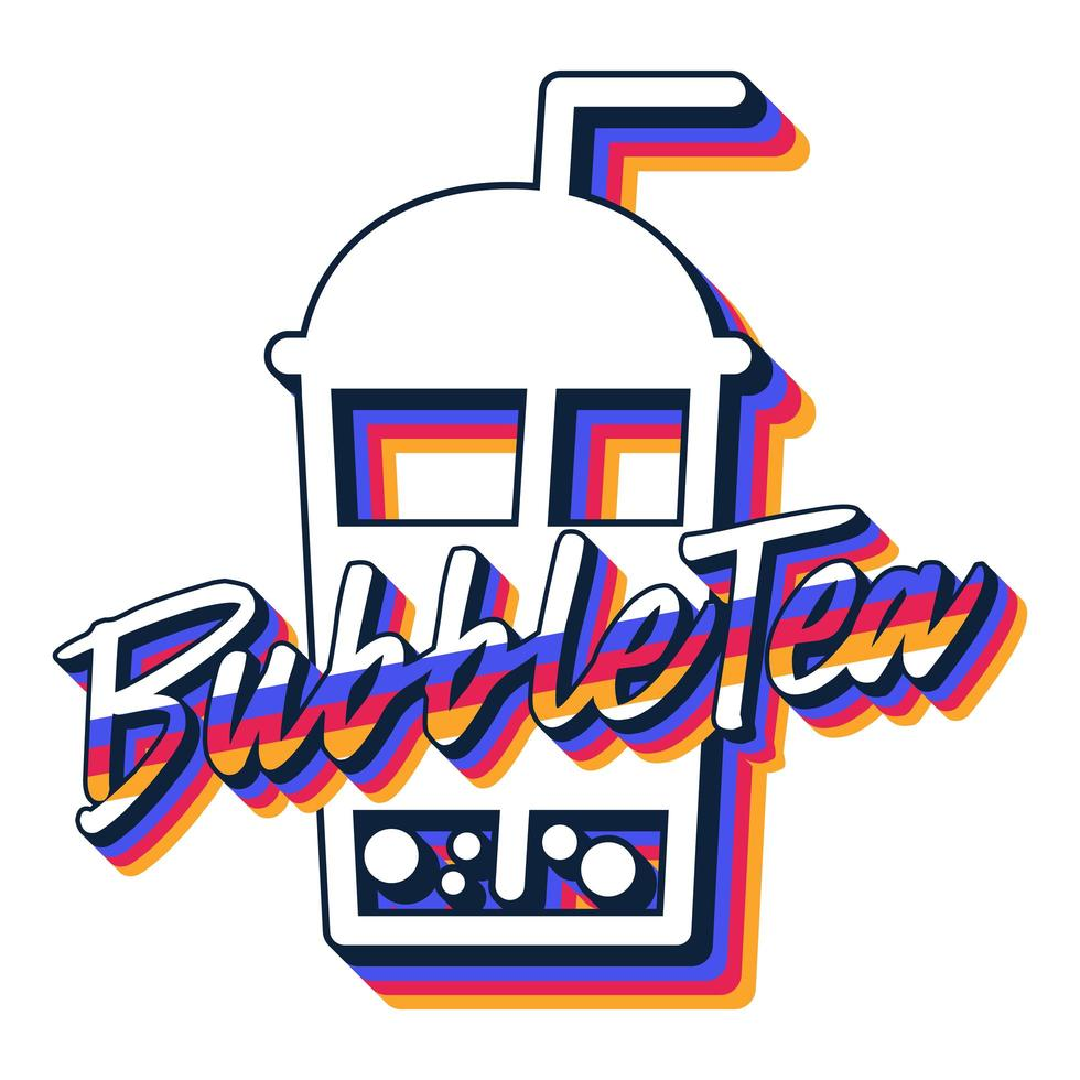 té de burbujas en icono de vector plano de vidrio plástico aislado sobre fondo blanco. plantilla de vector de té de verano para diseño de logotipo, pancarta, póster, folleto, etiqueta engomada, menú de bebidas para bar, cafetería, restaurante.