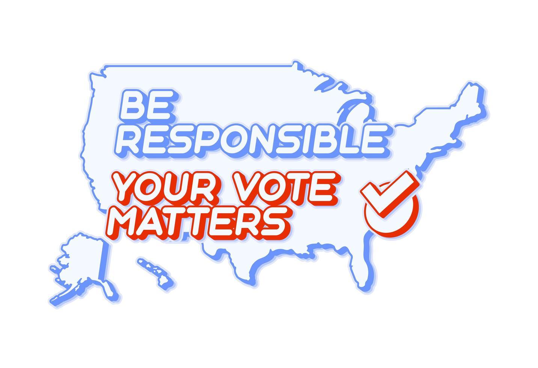 su voto importa 2020 para las elecciones primarias presidenciales de los estados unidos de américa en los estados unidos en noviembre para candidatos demócratas o republicanos. vector