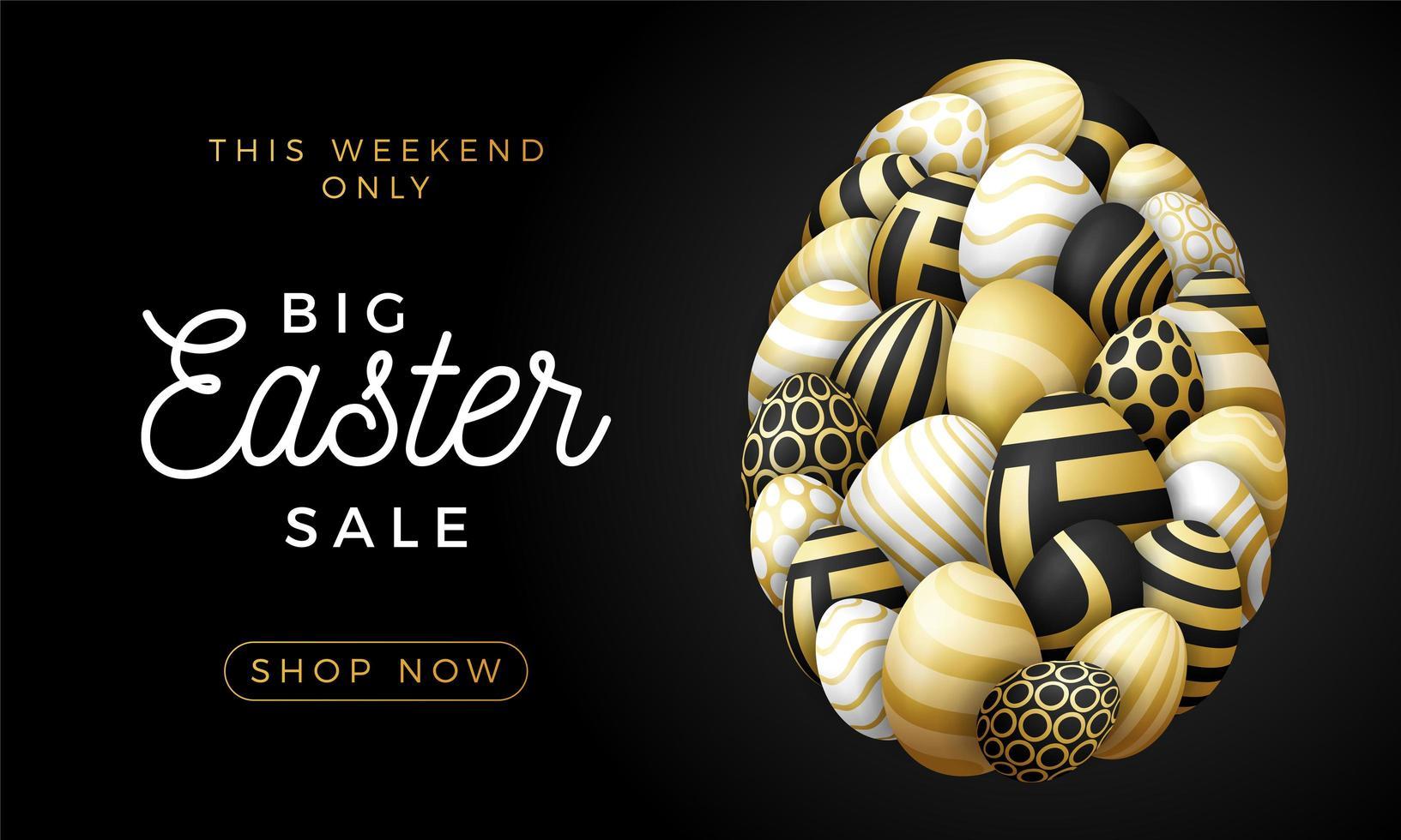 tarjeta de feliz pascua de lujo con huevos. Muchos hermosos huevos dorados realistas se colocan en forma de un huevo grande. ilustración vectorial de pascua sobre fondo negro. vector