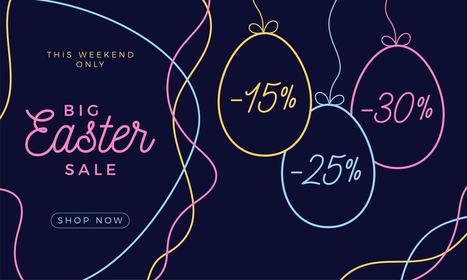 Banner horizontal de venta de huevos de Pascua. Tarjeta de Pascua con huevos de dibujo a mano, coloridos huevos adornados sobre fondo oscuro y moderno. ilustración vectorial. lugar para tu texto vector