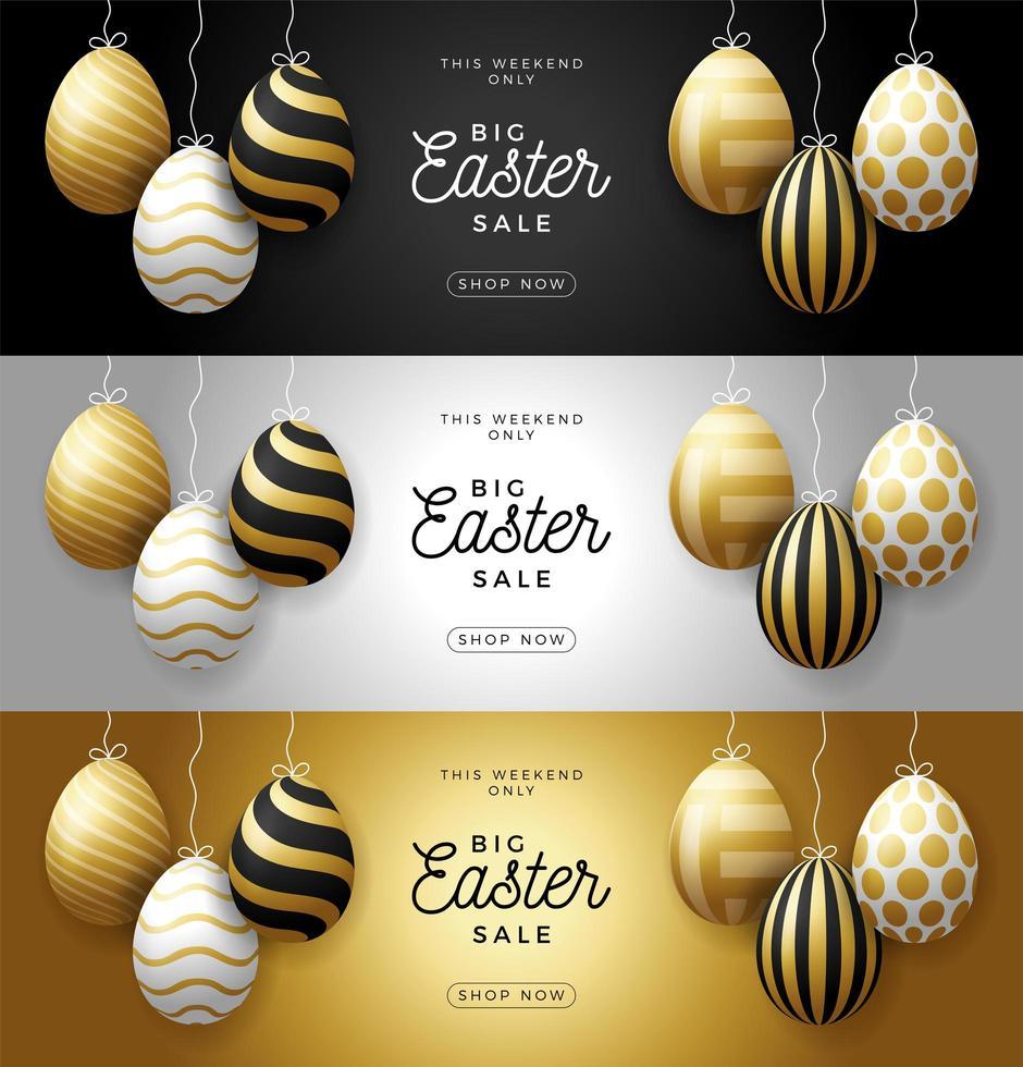 Conjunto de banner horizontal de venta de huevos de Pascua de lujo. Tarjeta de Pascua con huevos realistas dorados y blancos que cuelgan de un hilo, huevos adornados dorados sobre fondo negro moderno. ilustración vectorial. lugar para tu texto vector