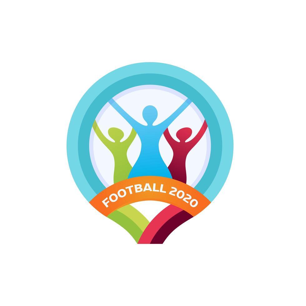 Logotipo de vector de fútbol 2020. emblema de vector de fútbol deportivo profesional moderno y diseño de logotipo de plantilla. Fútbol 2020 logotipo colorido oficial aislado sobre fondo blanco.
