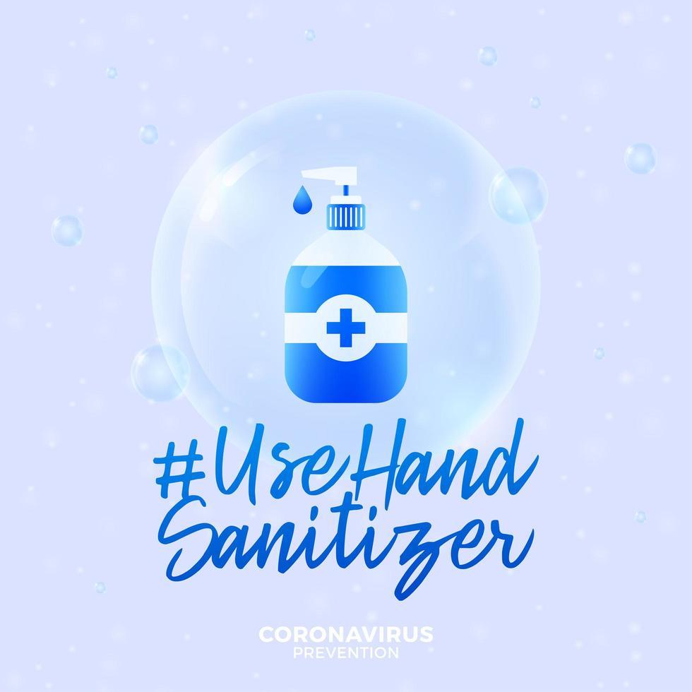 desinfectante de manos de uso futurista durante el concepto de brote de coronavirus. concepto de prevención de la enfermedad covid-19 con células de virus, bola realista brillante sobre fondo azul vector