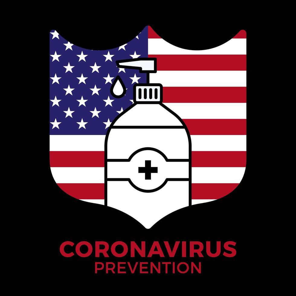 jabón o gel desinfectante y escudo con la bandera de Estados Unidos con antibacteriano, icono de virus, higiene, ilustración médica. protección del coronavirus covid-19 vector