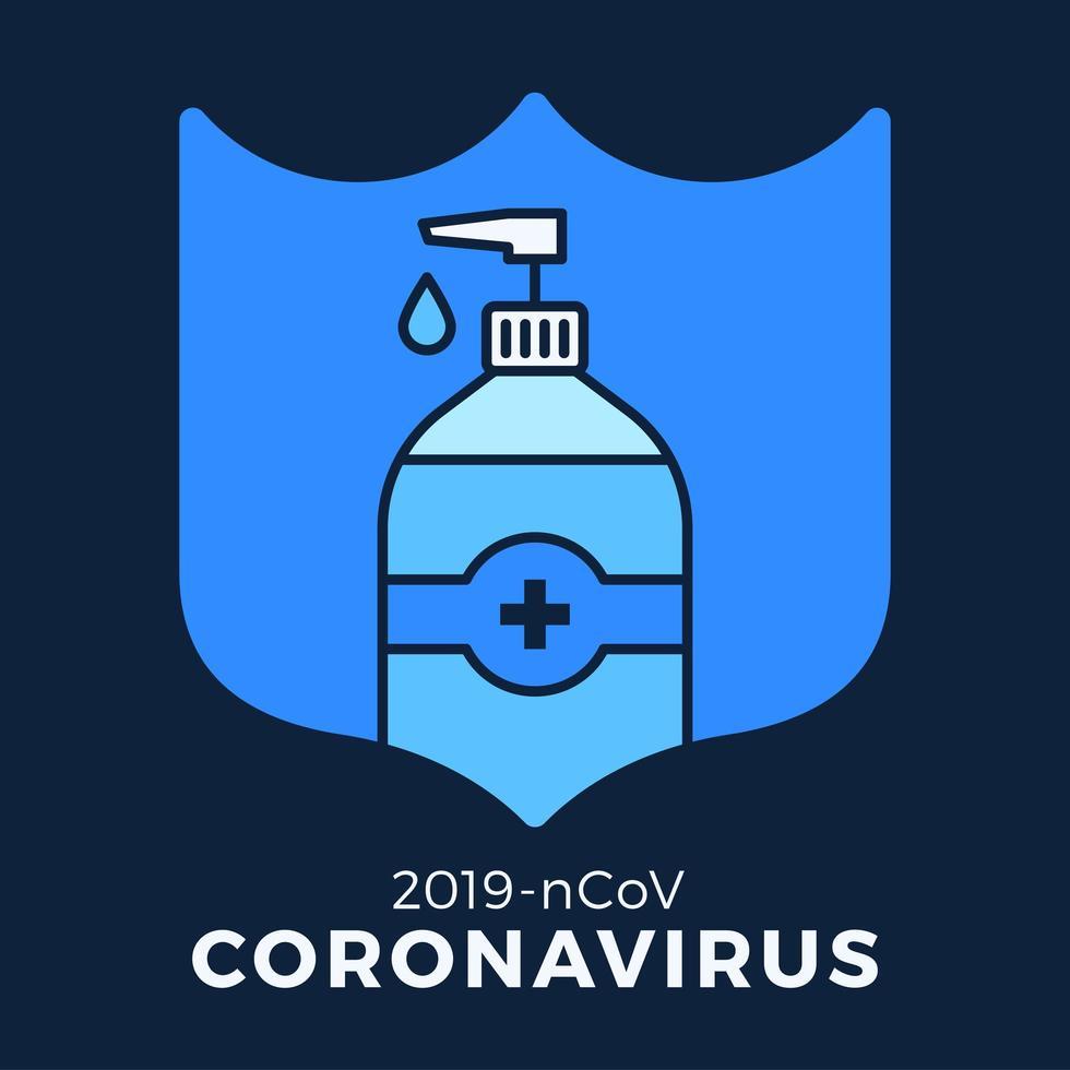 jabón o gel desinfectante y escudo con antibacteriano, icono de virus, higiene, ilustración médica. protección del coronavirus covid-19 vector