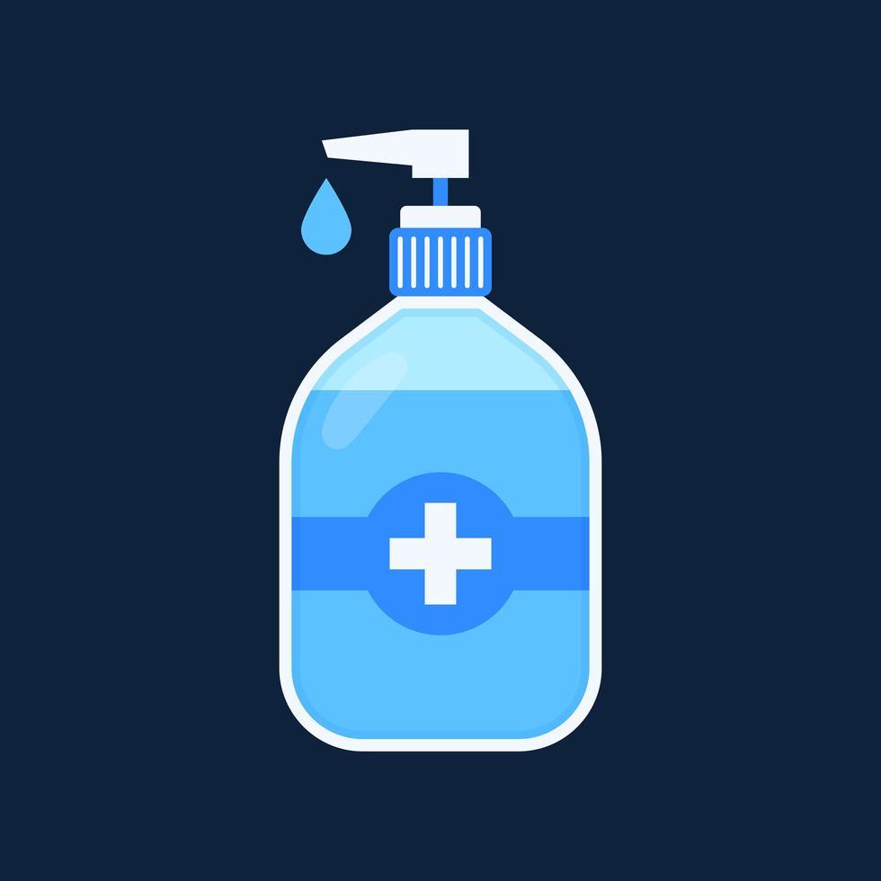 desinfección. botella de desinfectante de manos, gel de lavado. ilustración vectorial vector