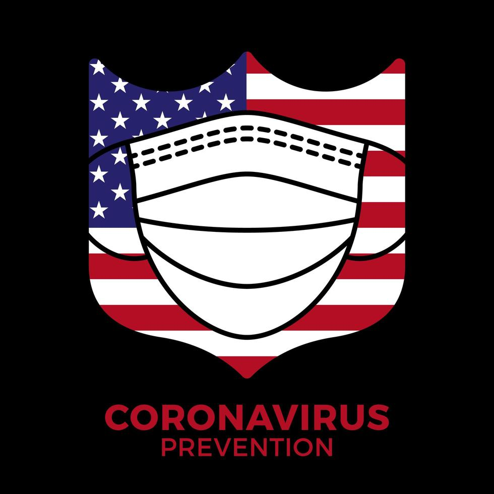 banner mascarilla en escudo con bandera de estados unidos icono prevención coronavirus. concepto de protección covid-19 signo ilustración vectorial. Fondo de diseño de prevención de covid-19. vector