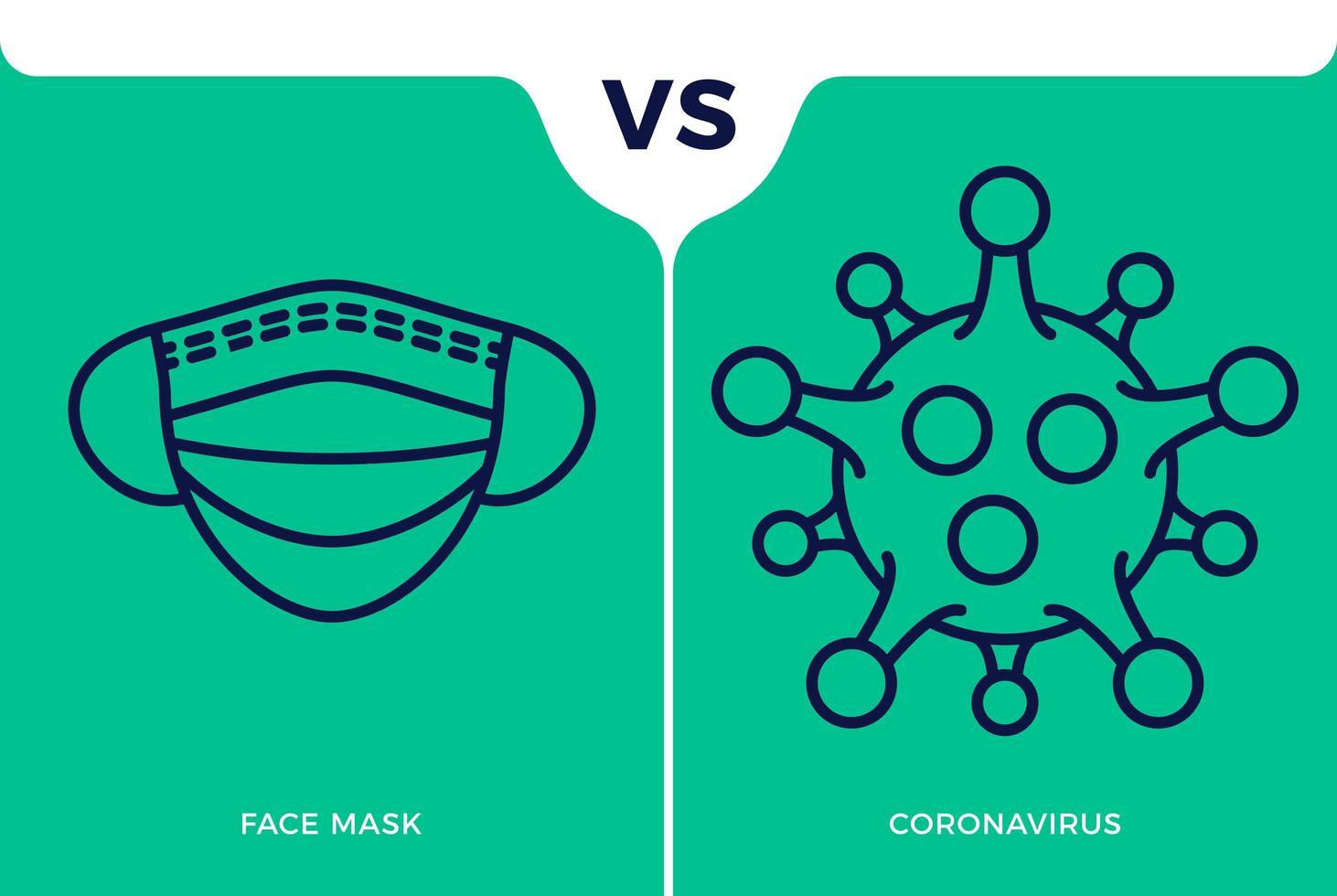 banner cara icono de máscara vs o contra coronavirus concepto protección covid-19 signo ilustración vectorial. Fondo de diseño de prevención de covid-19. vector