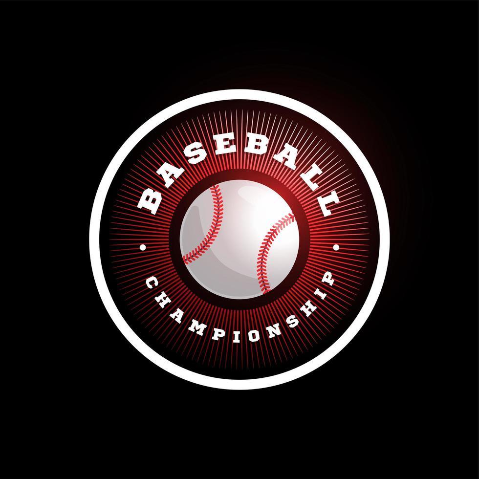 logotipo de vector circular de béisbol. tipografía profesional moderna deporte estilo retro vector emblema y plantilla de diseño de logotipo. diseño de logotipo de béisbol rojo.