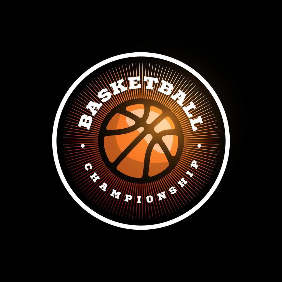 vector logo de la liga de baloncesto con pelota. Insignia deportiva de color naranja para campeonato o liga de torneo