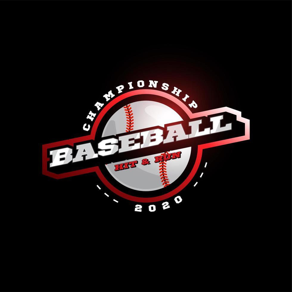 Logotipo de tipografía de deporte profesional moderno de vector de béisbol en estilo retro. emblema de diseño vectorial, insignia y plantilla deportiva diseño de logotipo rojo