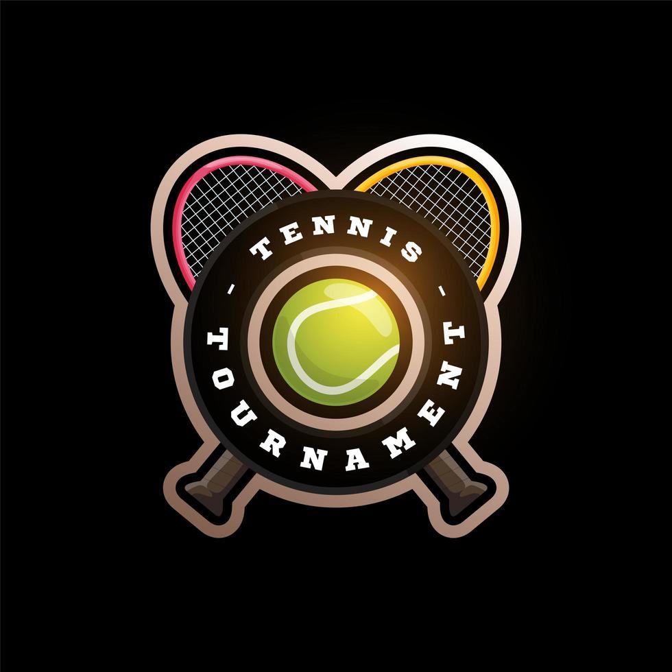 Logo de vector circular de tenis con raqueta cruzada. tipografía profesional moderna deporte estilo retro vector emblema y plantilla de diseño de logotipo. logo colorido de tenis.