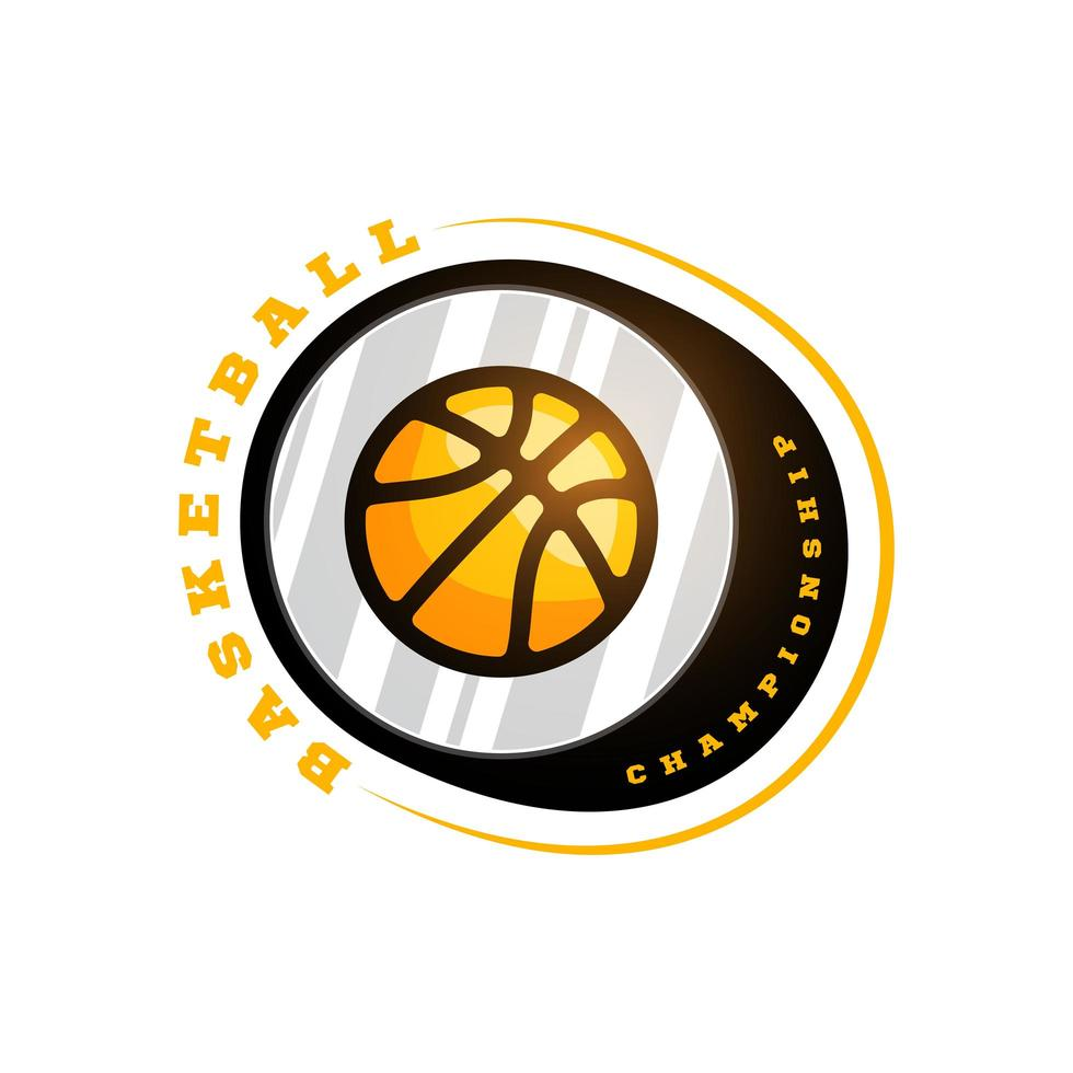 vector logo de la liga de baloncesto con pelota. Insignia deportiva de color amarillo para campeonato o liga de torneo
