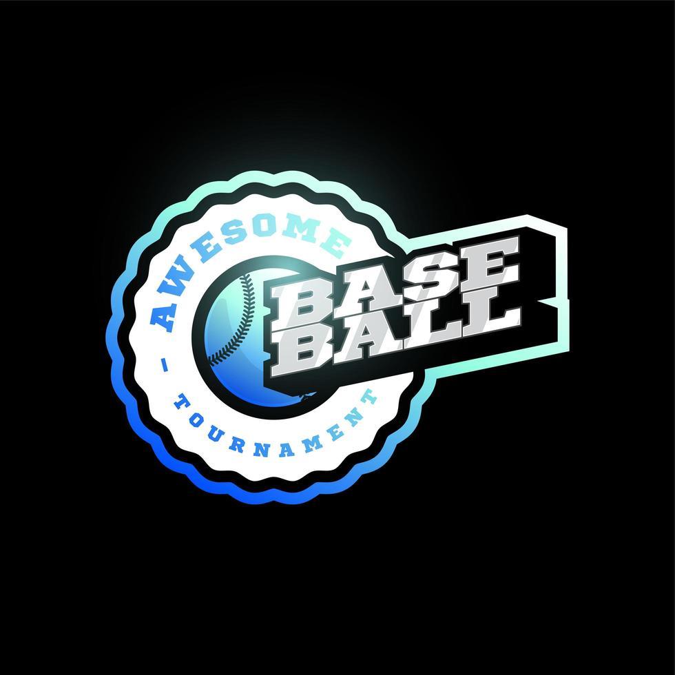 Logotipo de tipografía de deporte profesional moderno de vector de béisbol en estilo retro. emblema de diseño vectorial, insignia y diseño de logotipo de plantilla deportiva